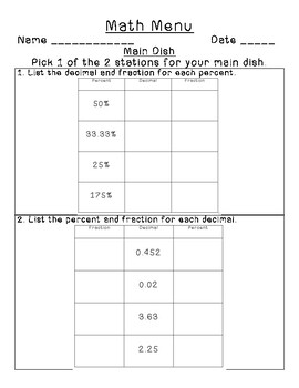 Math Menu Fraction, Decimal, Percent