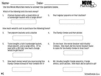 Movie Math Menu:  Movie Munchies (2nd - 3rd)