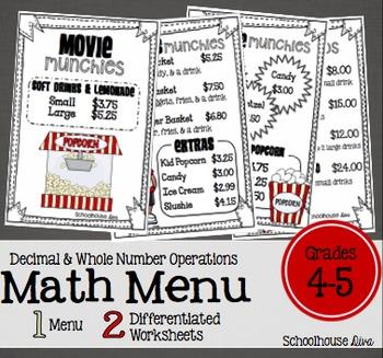 Movie Math Menu:  Movie Munchies (4th - 5th)