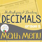Math Menu: Multiplying and Dividing Decimals