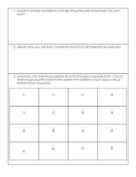 Math Menu Options - Factors