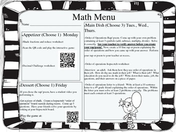Math Menu Order of Operations