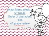 Math Menu Order of Operations