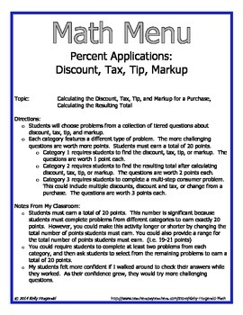 Math Menu: Percent Applications - Tax, Tip, Discount, and Markup Word Problems