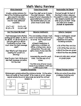 Math Menu Review #3