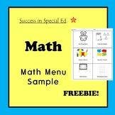 Math Menu Sample - Math Centers, Math Workshop