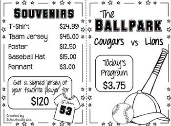 Math Menu - The Ballpark (4th - 5th)