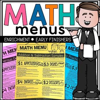 Math Menu Unit from Teacher's Clubhouse