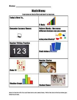 Math Menu Winter 1