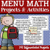 Differentiated Menu Math Projects & Activities - You Choos