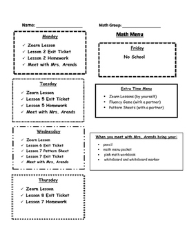 Math Menu for Blended Learning