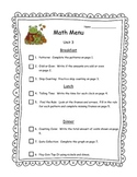 Math Menu for First Graders