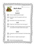 Math Menu for First Graders