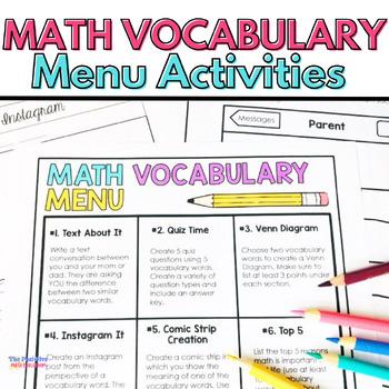 Math Menu for Vocabulary Words