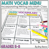 Math Vocabulary Menu Activities