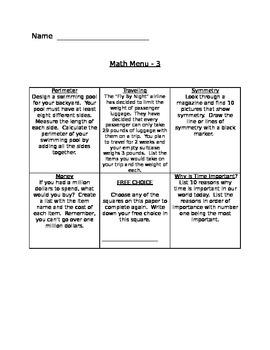 Math Menus