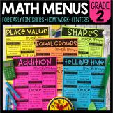 Math Menus - 2nd Grade