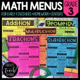 Math Menus - 3rd Grade | Choice Boards | Distance Learning