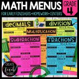 Math Menus - 4th Grade | Choice Boards | Distance Learning
