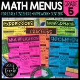 Math Menus - 5th Grade | Choice Boards | Distance Learning