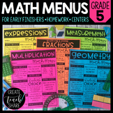 Math Menus - 5th Grade | Choice Boards | Distance Learning