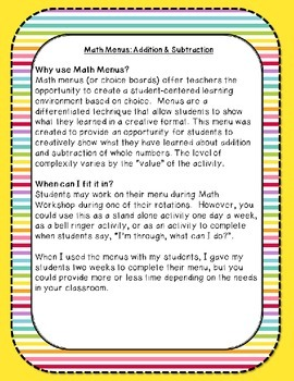 Math Menus: Addition & Subtraction (with Rounding)