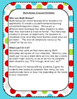 Math Menus: Area and Perimeter