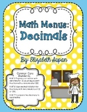Math Menus: Decimals