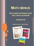 Math Menus: Differentiating Math Activities Grades 6-9