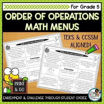 math menus order of operations editable ccssm teks aligned tpt