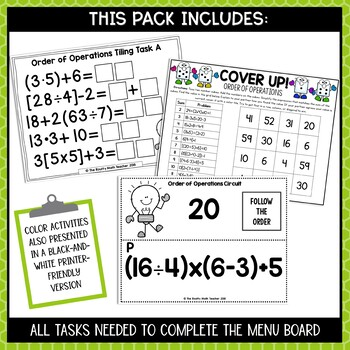 Order of Operations Activity | Editable Math Menus for TEKS and CCSSM
