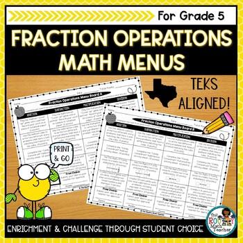 Math Menus: Fraction Operations- Editable & TEKS Aligned