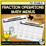 Fraction Operations Activities   Editable Math Menus for T