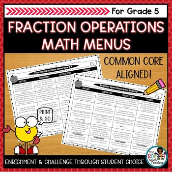 Math Menus: Fraction Operations- Editable & CCSSM Aligned