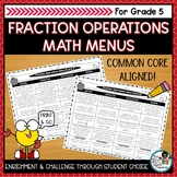Fraction Operations Activities   Editable Math Menus for C