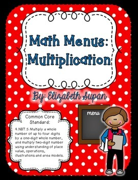 Math Menus: Multiplication