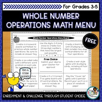 Math Menus: Whole Number Operations