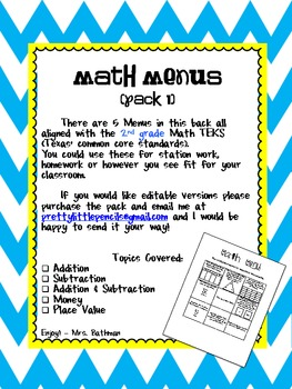 Math Menus Pack 1