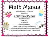 Math Menus for Little Ones
