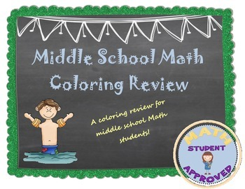 Math, Middle School Standard Review End of Year Coloring Activity