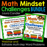Math Mindset Challenges Bundle | Editable Multi-step Word Problems and Webinar
