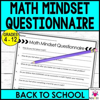Math Mindset Questionnaire Back to School
