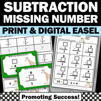 Missing Addends Subtraction Games, Missing Addends Task Cards, Kindergarten Math