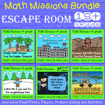 Math Mission - Escape Room - 1st Grade Growing Bundle