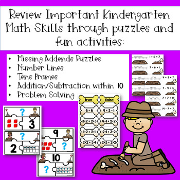 Math Mission-Escape Room-Dinosaurs Kindergarten Addition Subtraction within 10