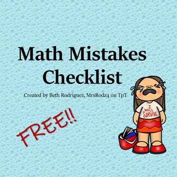 Math Mistakes Checklist