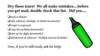 Math Mistakes Checklist