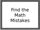 Math Mistakes for 4th grade