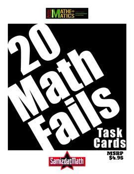 Math Mistakes: 20 Math Fail Task Cards with Answer Sheet & Key