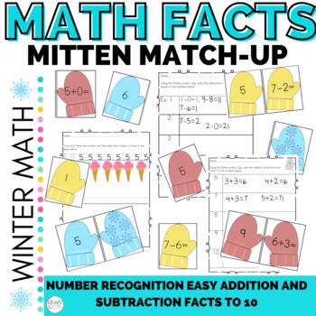 "Math Mitten Number Sense and Easy Computation Add & Subtract Match-Up ""Bundle"""